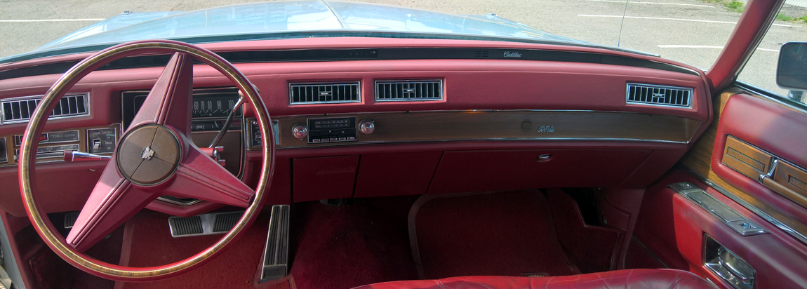 1975 Cadillac red leather interior
